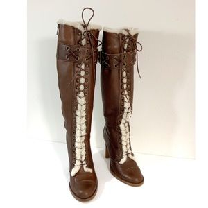 Coach Reece Knee High Shearling Tie Buckle Boots